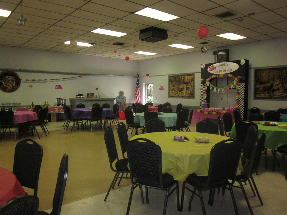 Hall Rental decorated for a 1st Birthday Party!